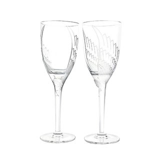 Lalique Paris Signed Angel Champagne Flute Glasses - a Pair For Sale
