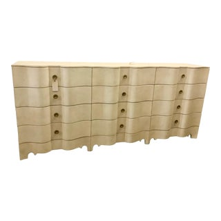 Large Hollywood Regency Parchment Dresser For Sale