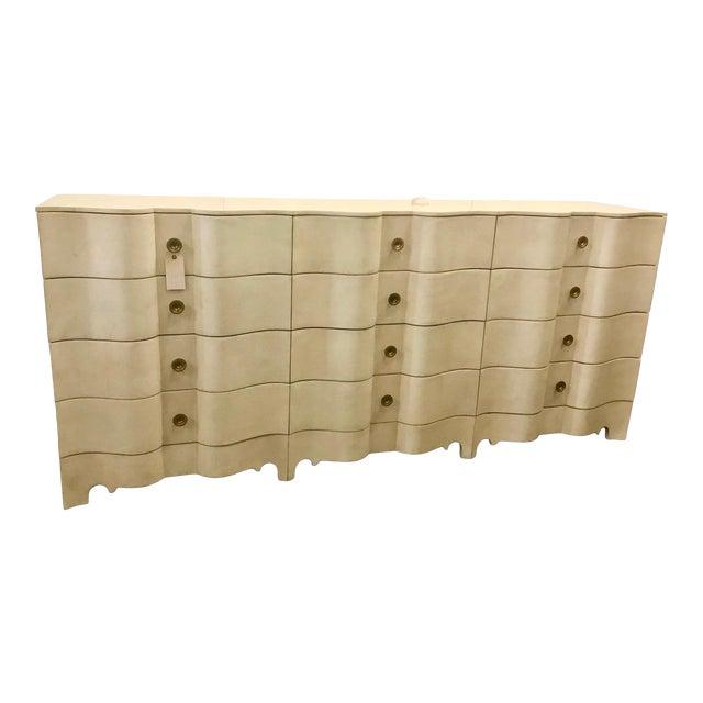 Large Hollywood Regency Parchment Dresser For Sale