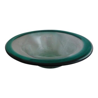 Signed Green Glass Bowl by California Artist David Hartman