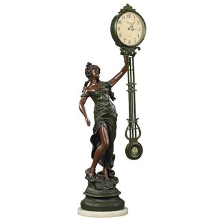 Early 20th Century Swinging Figural Clock - Lady Liberty Sculpture Signed a Moreau For Sale