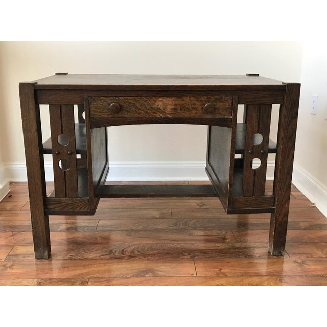 Antique Mission Oak Arts and Crafts Library Desk With Side Shelves, Lock  Mitres. This - Antique Mission Oak Arts And Crafts Library Desk With Shelves Chairish