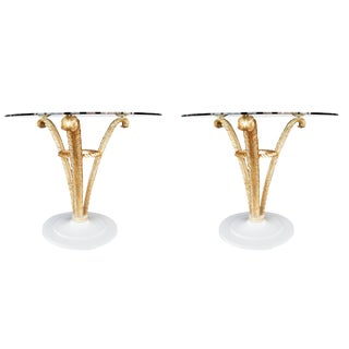 Pair of Grosfeld House Gold Leaf Side Tables For Sale