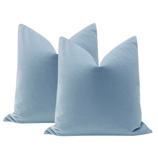 "22"" Cornflower Blue Velvet Pillows - a Pair"