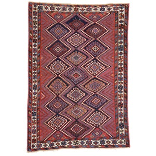 Antique Persian Afshar Rug with Modern Tribal Style, 4'3x6' For Sale