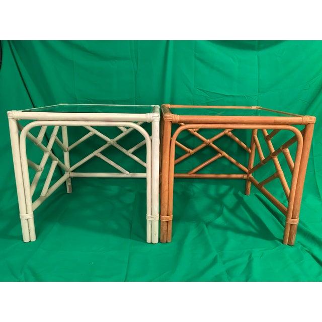 Asian 20th Century Chinese Chippendale Rattan Side Tables With Clear Glass Top - a Pair For Sale - Image 3 of 8