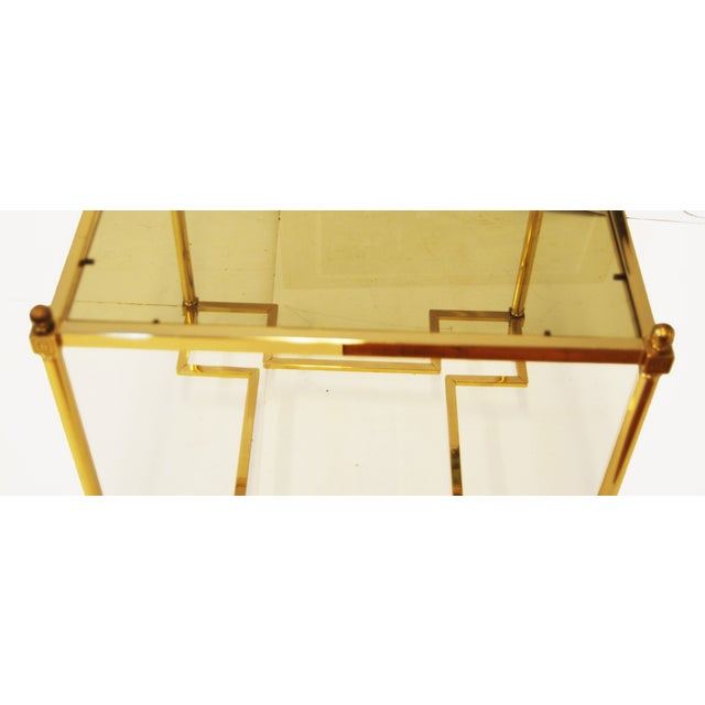 Hollywood Regency Brass Glass Top End Side Table - Image 4 of 6