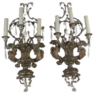 French, Pair of Antique Reposse Three-Arm Wall Sconces For Sale