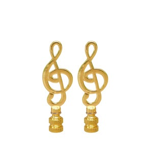 Brass Treble Clef Lamp Finials - a Pair For Sale