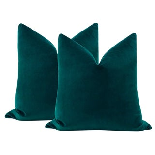 "22"" Peacock Velvet Pillows - a Pair For Sale"