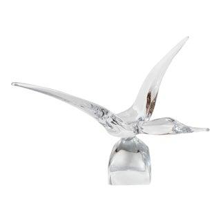 Exquisite Modernist Crystal Bird in Flight Sculpture by Daum