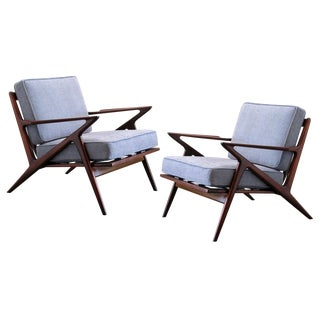 Poul Jensen for Selig Danish Modern Walnut Armchairs - a Pair For Sale