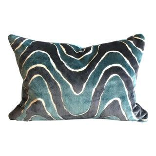 Italian Robert Allen Lush Wave in Batik Blue Lumbar Pillow For Sale