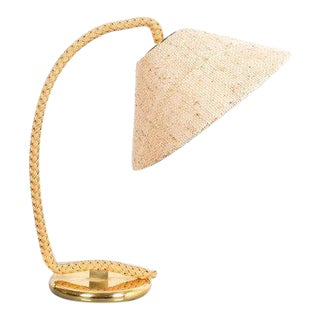 Minet Style Table Lamp Made from Rope and Brass, France, 1950 For Sale