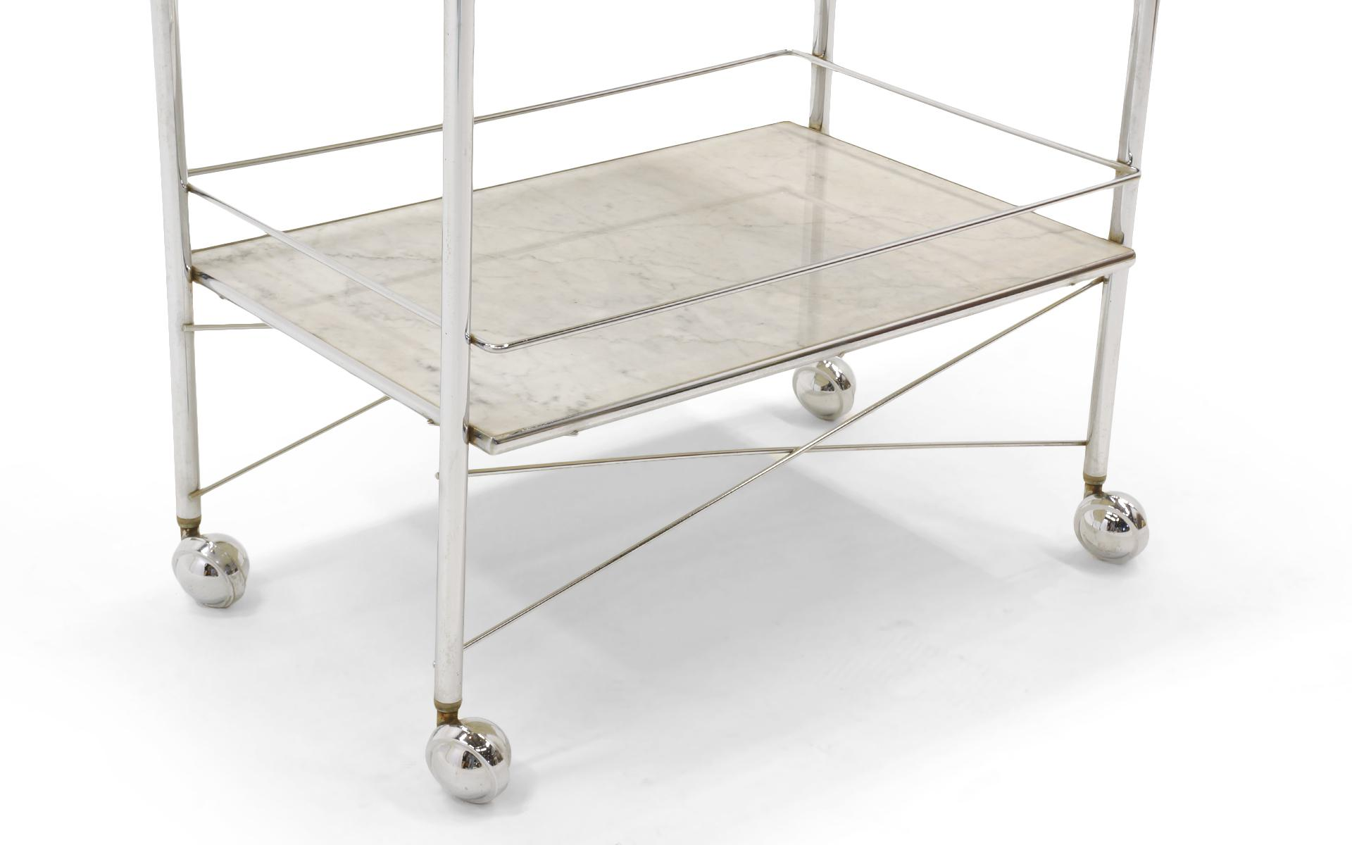 superior 1960s serving or bar cart chrome with white marble shelves rh decaso com shelving on casters for library Metal Shelving