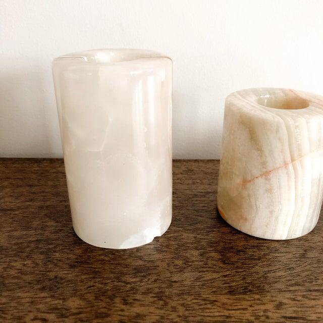 Gemstone Onyx Pakistani Candlestick Holders, Set of 3 For Sale - Image 7 of 11