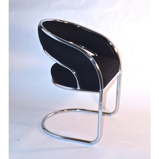 S / 4 Mid Century Modern Upholstered Chrome Sling Back Dining / Side Armchairs by Contemporary Shells Inc. - Image 2 of 5