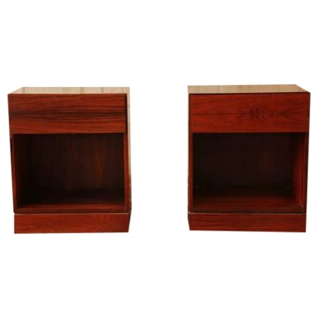 Danish Modern Rosewood Nightstands - Pair - Image 1 of 6