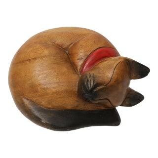 Vintage Large Folk Art Hand Carved Wooden Cat Sculpture