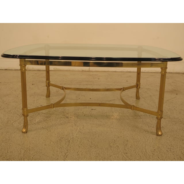 Item: F44193EC: LABARGE Glass Top Brass Base Coffee Table Age: Approx. 20 Years Old Details: Quality Construction Beveled...