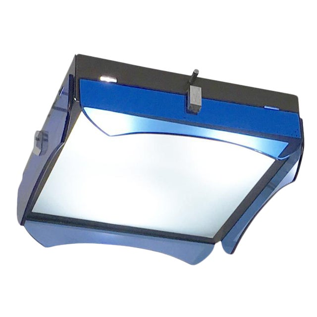 Square Veca Flush Mount with Blue Glasses For Sale