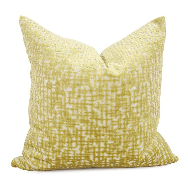 "2020s Kenneth Ludwig Chicago Crevasse Citron 20"" Square Pillow For Sale - Image 5 of 5"