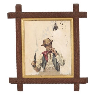 Book Cover Illustration of Cowboy in Antique Adirondack Frame For Sale