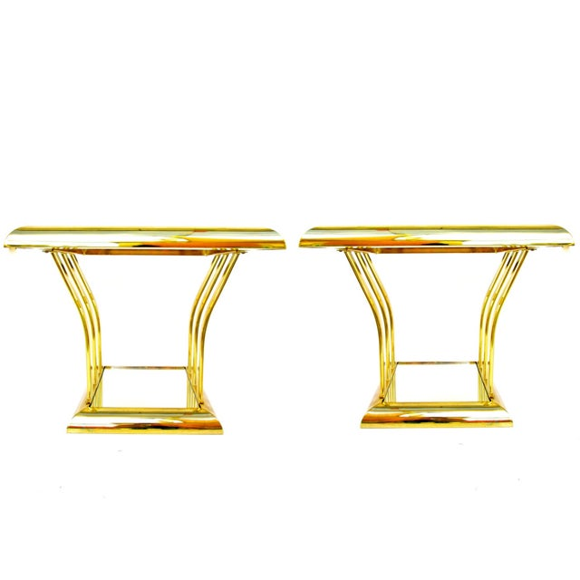 Post-Modern Two-Tier Brass End Tables - A Pair - Image 2 of 8
