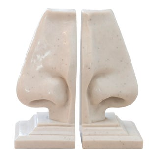 Dali Style Pop Art Faux Heavy Marble Nose Sculptural Bookends - a Pair For Sale