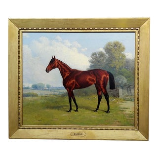 """Henry Stull """"Portrait of a Champion Race Horse"""" Oil Painting, 19th Century For Sale"""