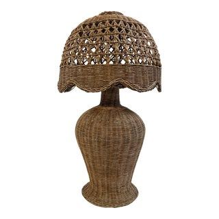 Late 19th C Wicker Table Lamp For Sale