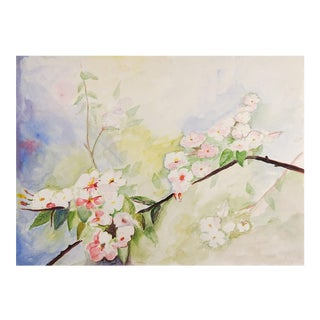 Apple Blossoms Watercolor Painting For Sale