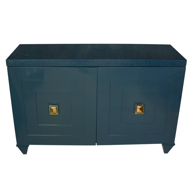 Mid-Century Modern Modern Navy Lacquered Wood Serving Cabinet with Brass Knobs For Sale - Image 3 of 5