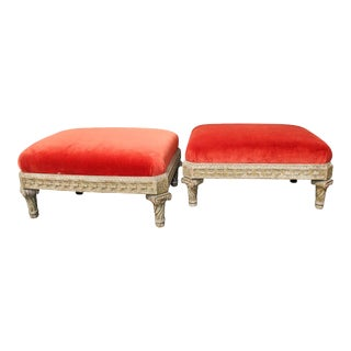 Beautifully Carved Louis XVI Style Painted Wood Tabourets - a Pair For Sale