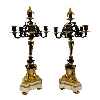 1950s Antique Gold and Marble Candle Holder - a Pair For Sale