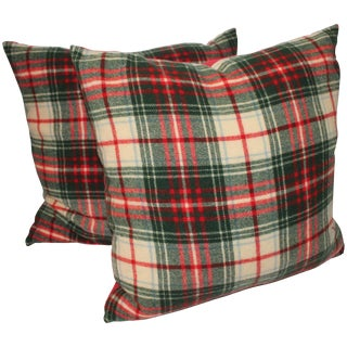 Pair of Wool Plaid Pillows For Sale