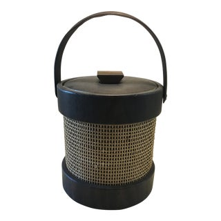 Mid-Century Wicker and Vinyl Ice Bucket