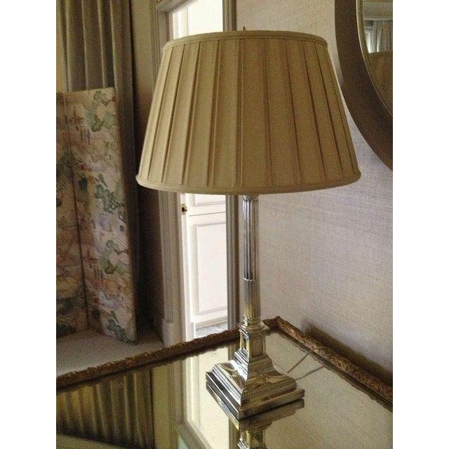 Pair of English Corinthian Column Silver Lamps - Image 4 of 8