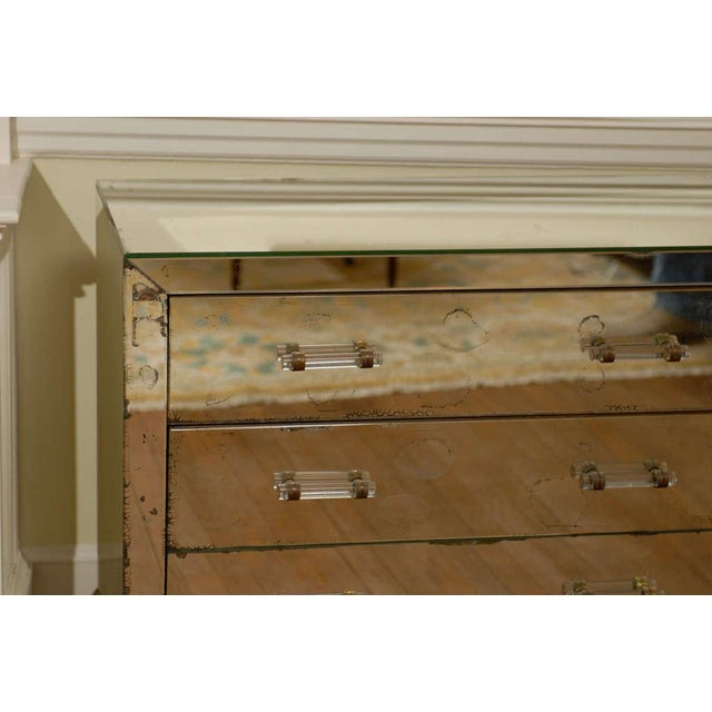 Mirrored Art Deco Three Drawer Chest with Brass Accents For Sale In Atlanta - Image 6 of 9