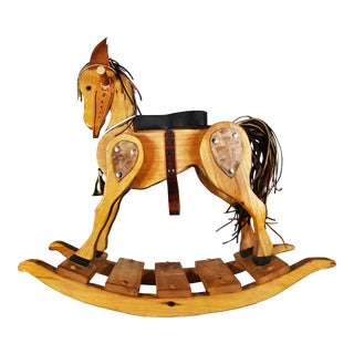 Handmade Wood Leather Rocking Horse Pony For Sale