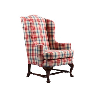 Queen Anne Mahogany Wingback Chair