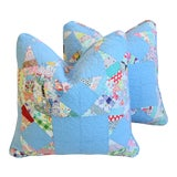 """Image of American Patchwork Quilt Feather/Down Pillows 20"""" Square - Pair For Sale"""