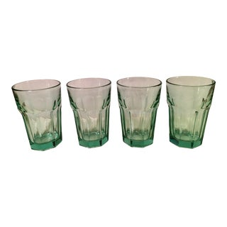 Mid-Century Modern Green Water or Cocktail Glasses- Set of 4 For Sale