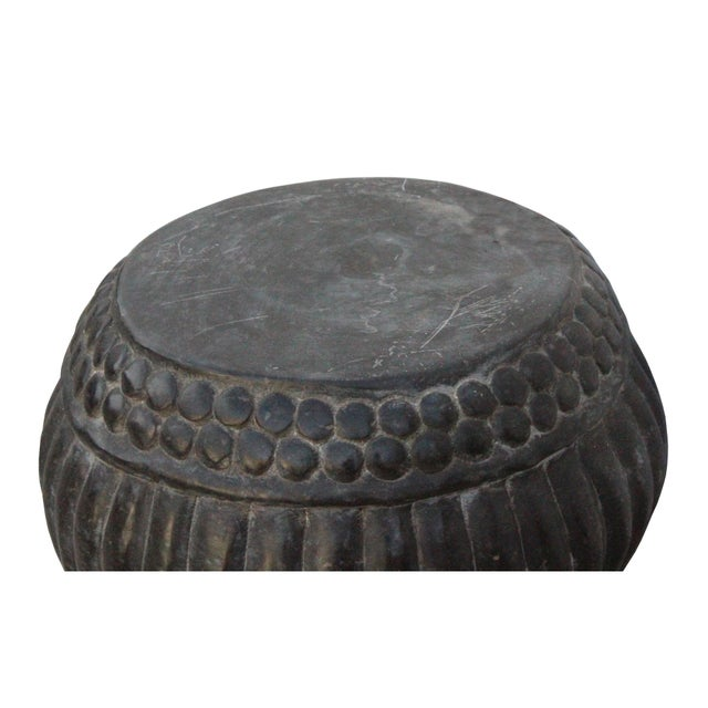 2010s Chinese Gray Stone Carved Round Simple Relief Pattern Stand For Sale - Image 5 of 7