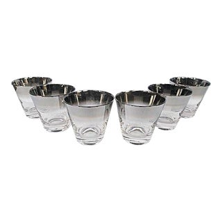 Mid Century Silver Rimmed Cocktail Glasses - Set of 6 For Sale