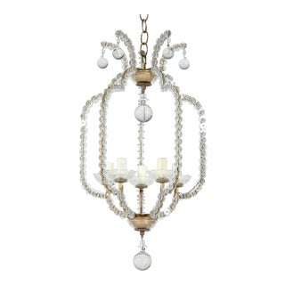1960s Vintage Italian Crystal Bead Chandelier Pendant For Sale