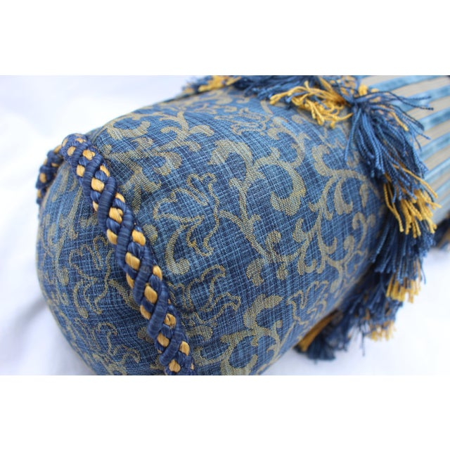 Blue Contemporary Small Small Silk and Velvet Bolster Pillow in Blue and Gold For Sale - Image 8 of 13