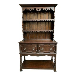 Antique English Oak Welsh Display Sideboard For Sale