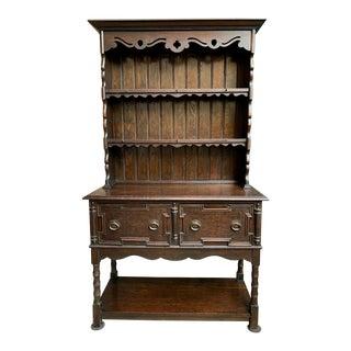 Antique English Oak Welsh Dresser Sideboard Hutch Jacobean Farmhouse Cabinet For Sale