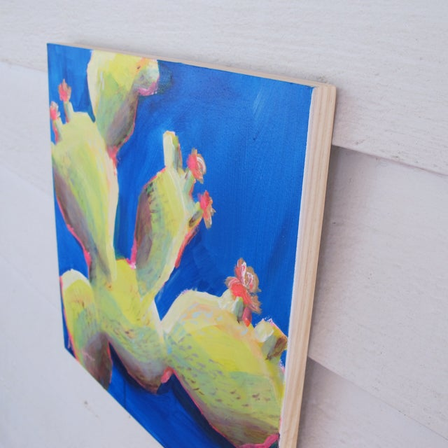 Blue & Green Contemporary Mykonos Cacti Painting - Image 2 of 2